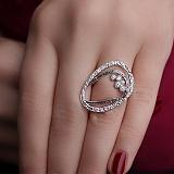 Серебряное кольцо Нест в чернении с цирконием