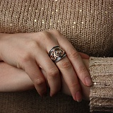 Кольцо из позолоченного и черненого серебра Графиня с фианитами
