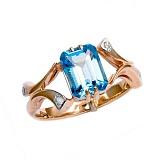 Золотое кольцо с топазом и бриллиантами Вайле