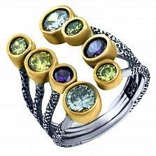 Серебряное кольцо Гвендолайн с фианитами микс
