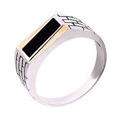 Серебряный перстень-печатка с черным ониксом и золотыми накладками 000116121