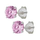 Серебряные сережки-пуссеты с фиолетовым цирконием Эсселта