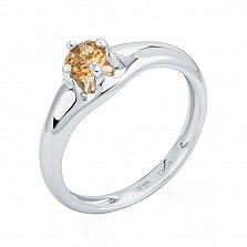 Серебряное кольцо Карима с цитрином огранки круг
