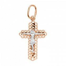 Золотой крестик в комбинированном цвете с алмазной гранью 000106366