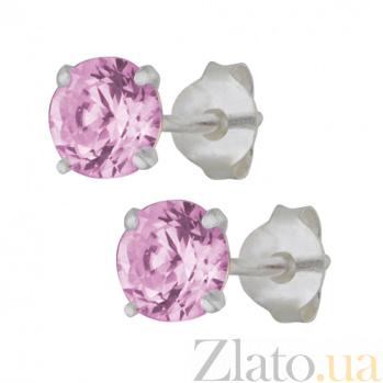 Серебряные сережки-пуссеты с фиолетовым цирконием Эсселта SLX--С2ФР/603