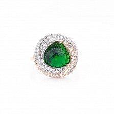 Золотое кольцо Каталина с зеленым и белыми фианитами