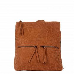 Кожаный рюкзак Genuine Leather 8869 коньячного цвета с двумя карманчиками на лицевой стороне