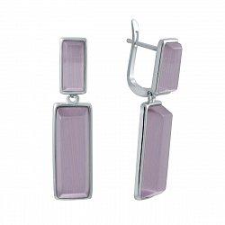 Серебряные серьги-подвески с улекситом 000145144