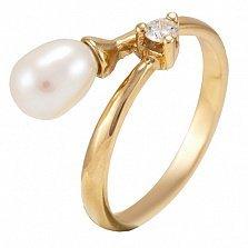Золотое кольцо с бриллиантом и жемчугом Принцесса морей