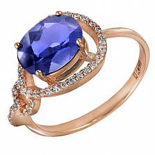 Кольцо в красном золоте Диана с синтезированным александритом и фианитами