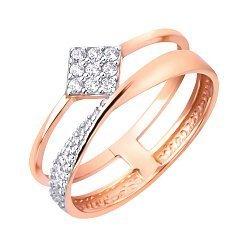 Золотое кольцо в красном цвете с ромбом на шинке и дорожкой из фианитов 000117079