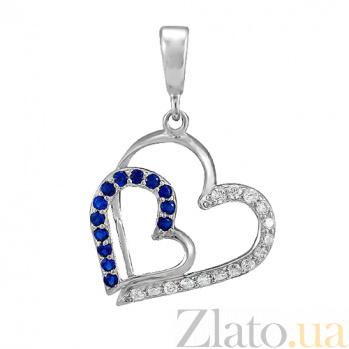 Серебряный подвес Сладкая парочка с синими и белыми фианитами 000028611