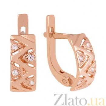 Золотые серьги с фианитами Геометрический орнамент 000024312