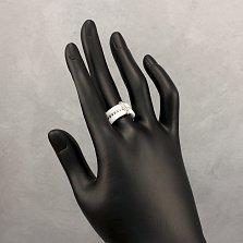 Тройное кольцо Лада из белой керамики и серебра с фианитами