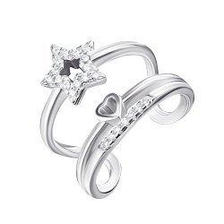 Серебряное разомкнутое кольцо с фианитами 000129442