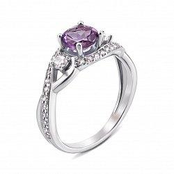 Серебряное кольцо с аметистом и фианитами 000133975