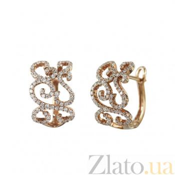 Золотые серьги с бриллиантами Импровизация 000027280
