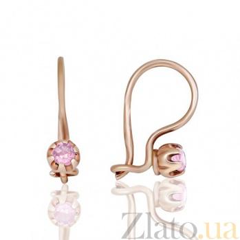 Золотые серьги Розочки с фианитами EDM--С0336Р