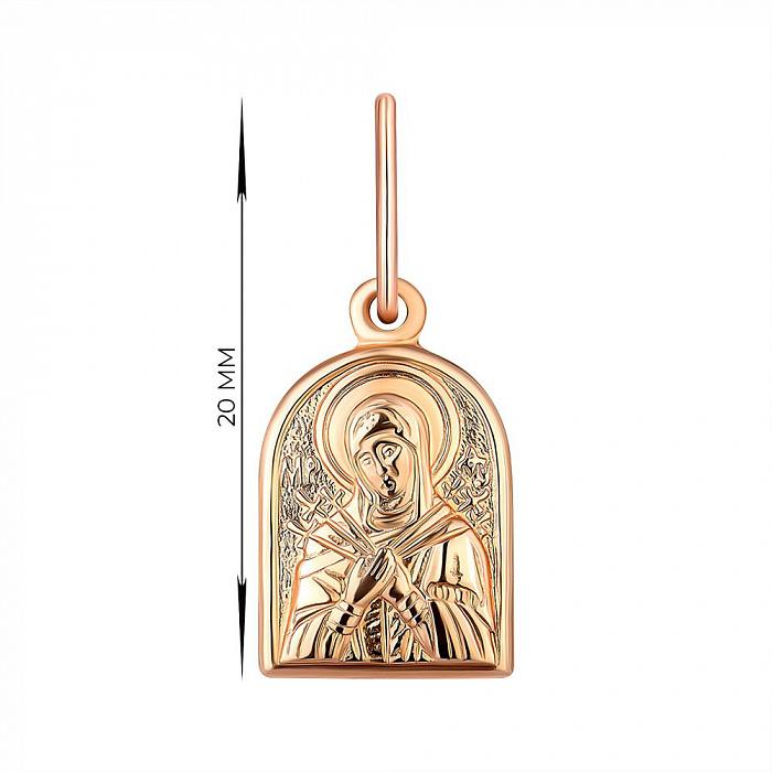 Ладанка из красного золота Божия Матерь Семистрельная 000141397 000141397