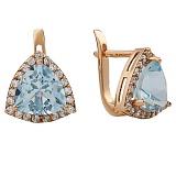 Золотые серьги Габриэлла с голубым топазом и фианитами