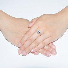 Серебряное кольцо Илона с сапфиром и фианитами