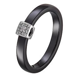 Кольцо в белом золоте Инна с керамикой и бриллиантами 000054066