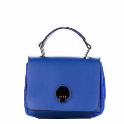Кожаный клатч Genuine Leather 8606 синего цвета с короткой ручкой и карманом на тыльной стороне 0000
