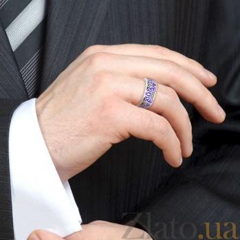 Мужское обручальное кольцо из белого золота с эмалью Талисман: Души 3043