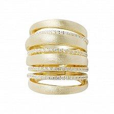 Серебряное наборное кольцо Ирина в желтом цвете с дорожками фианитов и фиксатором на тыльной стороне