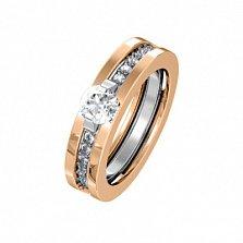 Золотое кольцо-трансформер Даллас в комбинированном цвете с белыми фианитами