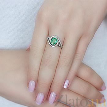 Серебряное кольцо с изумрудом Шантье 000015331