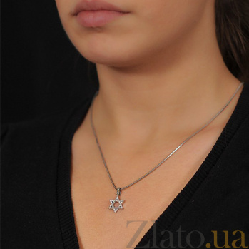 Золотой кулон Гексаграмма с бриллиантами EDM--П7218/1