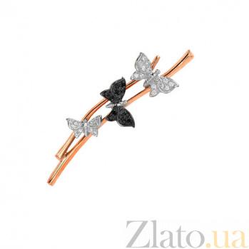 Брошь с белыми и черной бабочкой VLT--ЕЕ434-3
