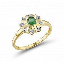Кольцо из желтого золота Джессика с бриллиантами и изумрудом
