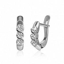 Сережки из серебра с цирконием Альвина