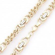 Золотая цепочка Арлекин в комбинированном цвете фантазийного плетения