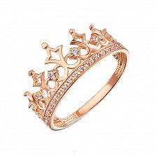 Золотое кольцо-корона Олимпия с фианитами