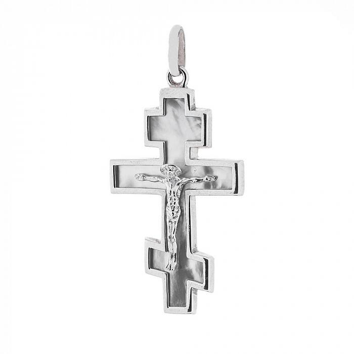 Серебряный крестик Творец любви с перламутром 000062991