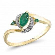 Кольцо из желтого золота с изумрудами и бриллиантами Элиза