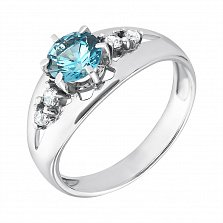 Серебряное кольцо Милена с кварцем под лондон топаз и белым цирконием