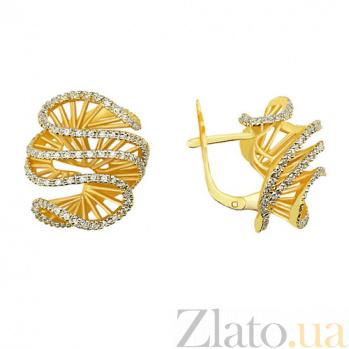 Серьги из желтого золота Снежный узор VLT--ТТ2223-1