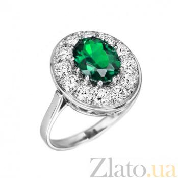 Кольцо в белом золоте Кристина с изумрудом и бриллиантами 000079286
