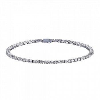 Теннисный браслет из белого золота с бриллиантами 2,7ct 000145344