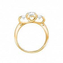 Кольцо из красного золота Любимое трио с белыми фианитами