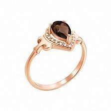 Кольцо в красном золоте Лолита с раухтопазом и фианитами