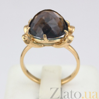 Золотое кольцо Самида с раухтопазом  VLN--112-1199-2
