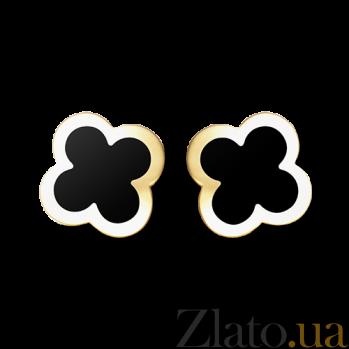 Малые серьги из желтого золота с черным ониксом Alhambra E-VCA-Algamra-E-onyx-litt