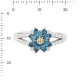 Серебряное кольцо с топазами, цитрином и фианитами Амина