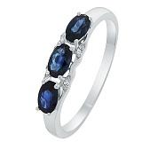 Золотое кольцо Квинси с сапфирами и бриллиантами