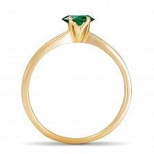 Золотое кольцо Ясмин с сердцем в четырех крапанах и изумрудом